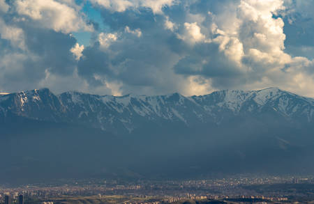 Snow Mountain Range Landscape with Blue Sky from Turkey.
