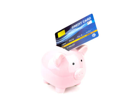 Credit cards with Piggy bank isolated on white background, saving concept. Imagens