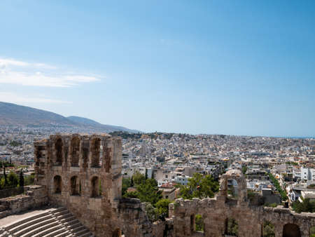Odeon of Herodes Atticus at the Acropolis with Athens city in Greece, Europe