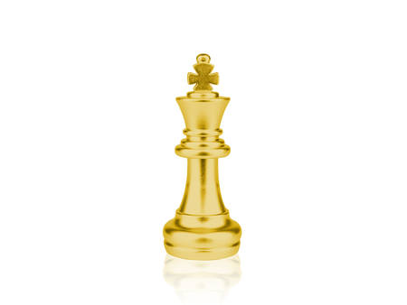 The gold King Chess pieces battle  on white background