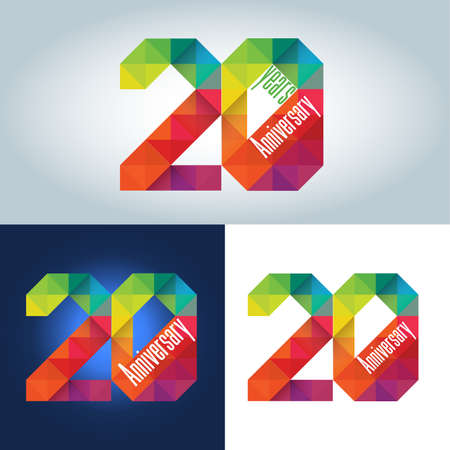 20th: 20th Anniversary colorful geometric triangular icon.