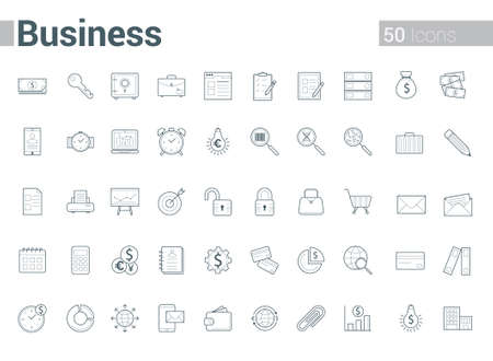 Simple and clean Vector line Business icons set. Set of 50 Business Icons suitable for Banner, Bunting, User Interface, Website, Info-graphics, and Applications.