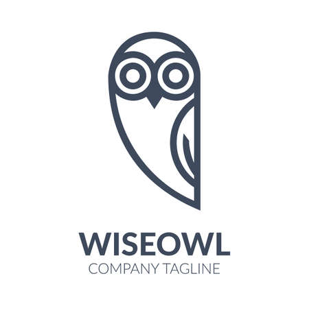 Black and white owl logo templates Illustration