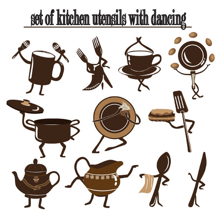 set of kitchen utensils with dancing and moves