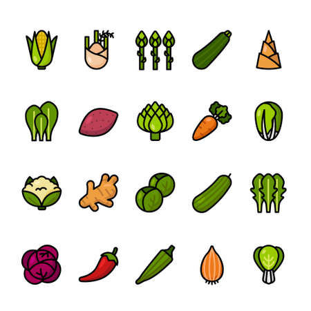 Color line icon set of Vegetables