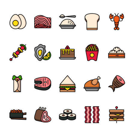 Color line icon set of Food