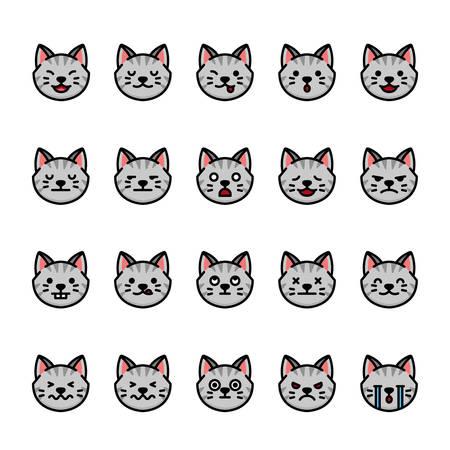 Color line icon set of Cat Emoji Emoticon Expression