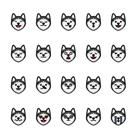 Color line icon set of Siberian Husky Dog Emoji Emoticon Expression