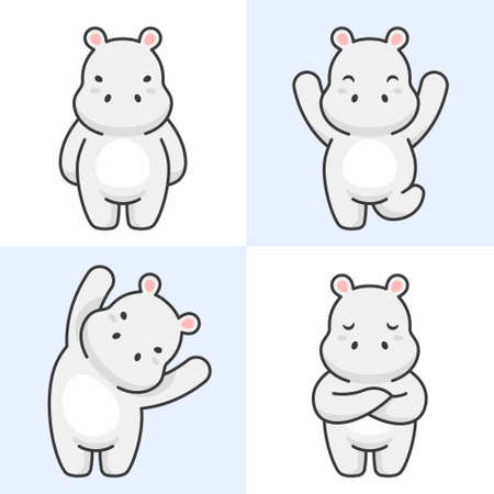 Vector set of cute hippo characters