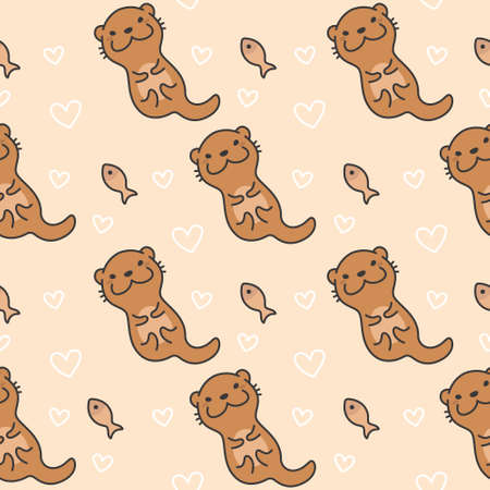 Cute otter Seamless Pattern Background