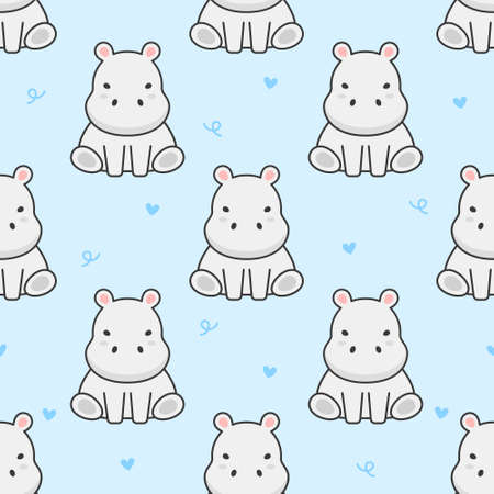Cute hippopotamus Seamless Pattern Background