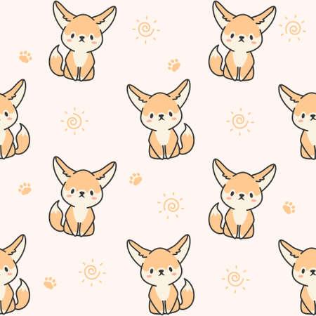 Cute fennec fox Seamless Pattern Background