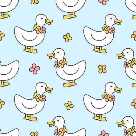 Cute duck and flowers necklace Seamless Pattern Background 일러스트