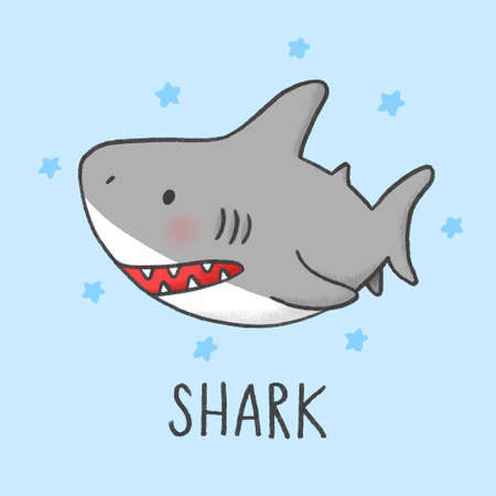 Cute Shark cartoon hand drawn style Çizim