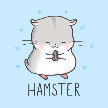 Cute Hamster cartoon hand drawn style Ilustracja
