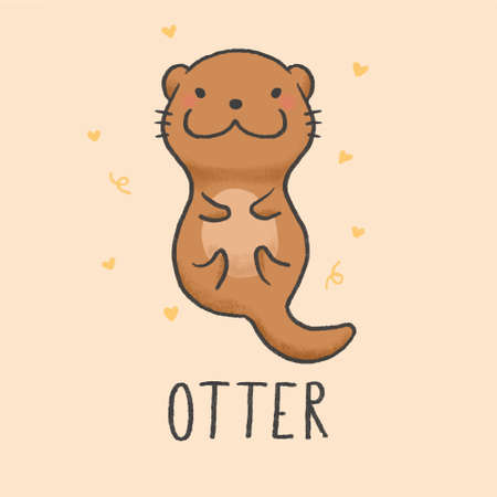 Cute Otter cartoon hand drawn style Çizim
