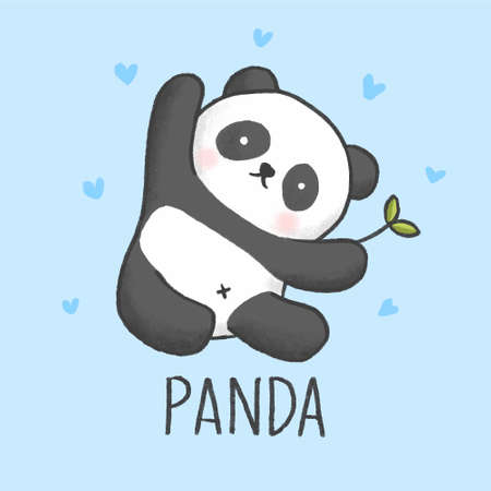 Cute Panda cartoon hand drawn style