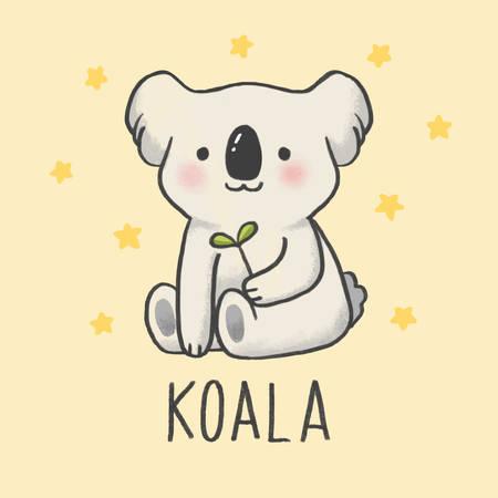Cute Koala cartoon hand drawn style