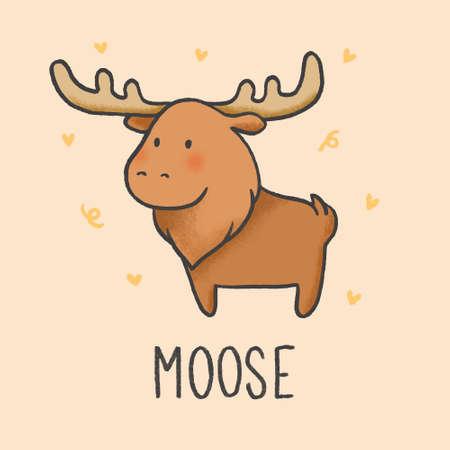 Cute Moose cartoon hand drawn style Illustration