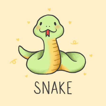 Cute Snake cartoon hand drawn style Illustration
