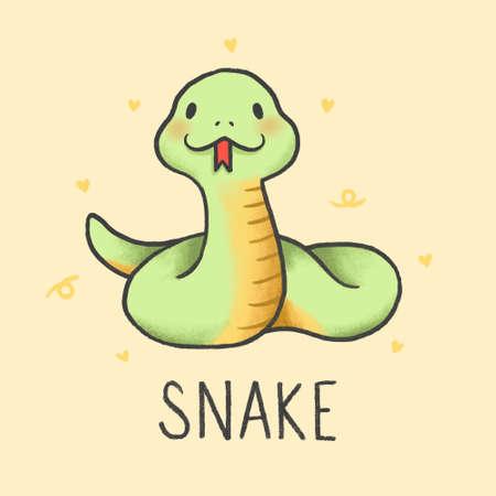 Lindo estilo de dibujos animados de serpiente dibujada a mano