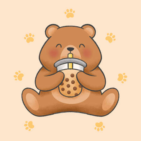 Cute bear eat bubble milk tea hand drawn cartoon animal character. Hand drawing vector. Cartoon character design.