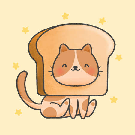 Cute cat with bread hat hand drawn cartoon animal character. Hand drawing vector. Cartoon character design.