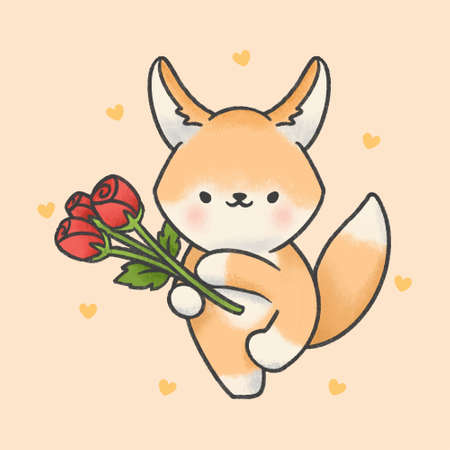 Cute fennec fox and rose flowers hand drawn cartoon animal character. Hand drawing vector. Cartoon character design.