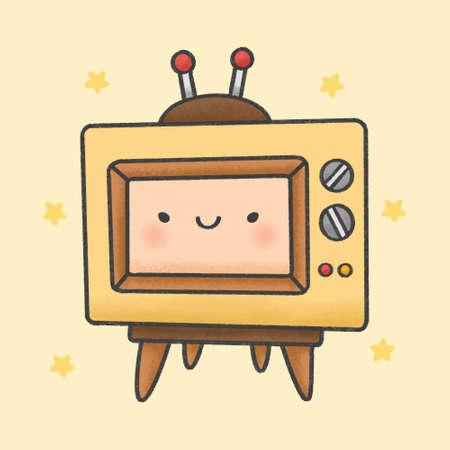 Cute retro television hand drawn cartoon character. Hand drawing vector. Cartoon character design.