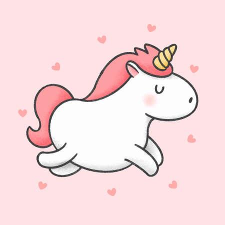 Cute unicorn hand drawn cartoon animal character. Hand drawing vector. Cartoon character design.