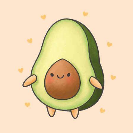 Cute avocado hand drawn cartoon character. Hand drawing vector. Cartoon character design. Иллюстрация