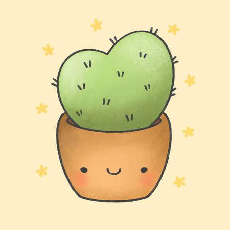 Cute cactus hand drawn cartoon character. Hand drawing vector. Cartoon character design.
