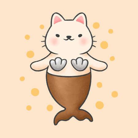 Cute cat mermaid hand drawn cartoon animal character. Hand drawing vector. Cartoon character design.