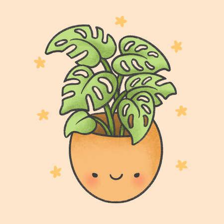 Cute plant hand drawn cartoon character. Hand drawing vector. Cartoon character design.