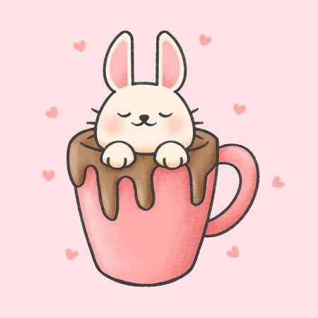 Rabbit in a cup of chocolate hand drawn cartoon animal character. Hand drawing vector. Cartoon character design. Иллюстрация