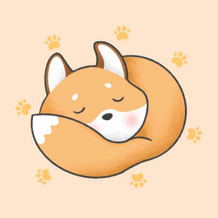 Sleepy fox hand drawn cartoon animal character. Hand drawing vector. Cartoon character design.  イラスト・ベクター素材