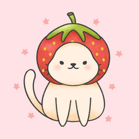 Cute cat wearing strawberry hat  hand drawn cartoon animal character. Hand drawing vector. Cartoon character design.  イラスト・ベクター素材
