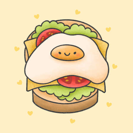 Fried egg on cheese sandwich hand drawn cartoon character. Hand drawing vector. Cartoon character design.