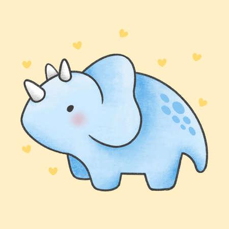Triceratops dinosaur hand drawn cartoon character. Hand drawing vector. Cartoon character design. Иллюстрация