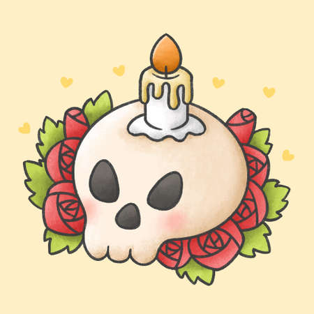 Candle on skull with red rose flowers hand drawn cartoon character. Hand drawing vector. Cartoon character design.