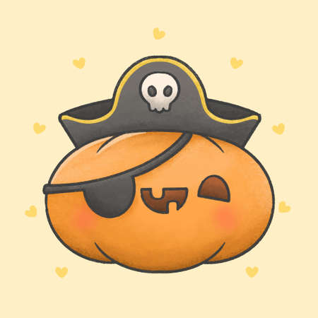 Spooky pumpkin with pirate costume hand drawn cartoon character. Hand drawing vector. Cartoon character design.