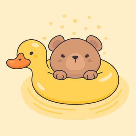 Cute bear in a duck life ring cartoon animal character vector. Cartoon character design. Çizim