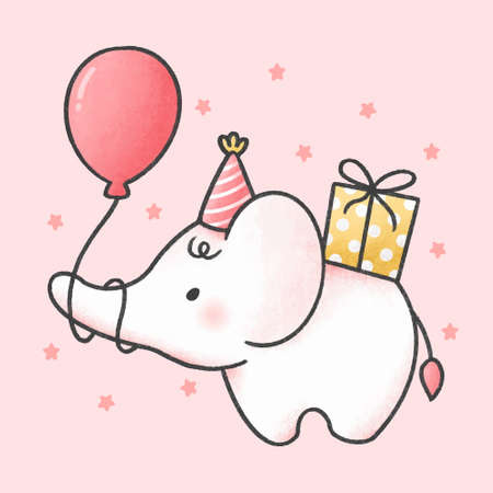 Cute baby elephant in a birthday party hat holding balloon and gift box hand drawn cartoon animal character. Hand drawing vector. Cartoon character design
