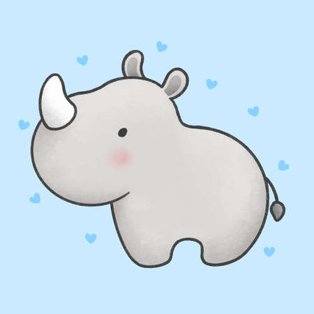 Cute baby rhino hand drawn cartoon animal character. Hand drawing vector. Cartoon character design  イラスト・ベクター素材