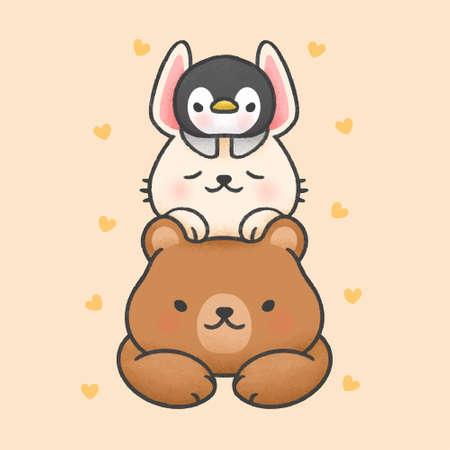 Cute bear and sleeping rabbit on top of penguin hand drawn cartoon animal character. Hand drawing vector. Cartoon character design Иллюстрация