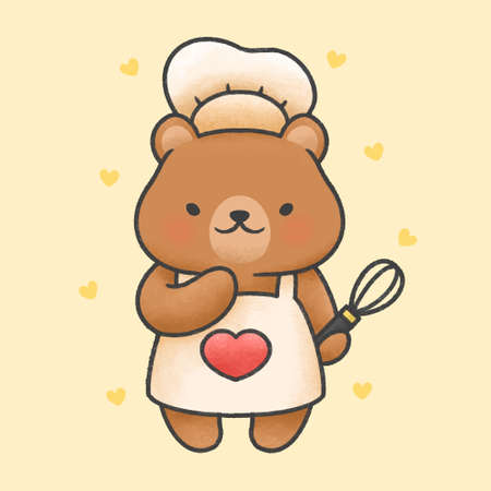 Cute bear cooking hand drawn cartoon animal character. Hand drawing vector. Cartoon character design Иллюстрация