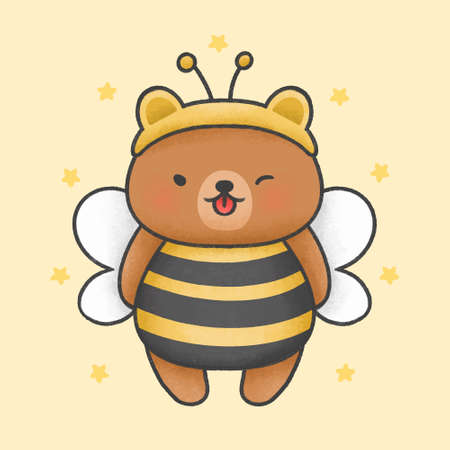 Cute bear costume bee hand drawn cartoon animal character. Hand drawing vector. Cartoon character design