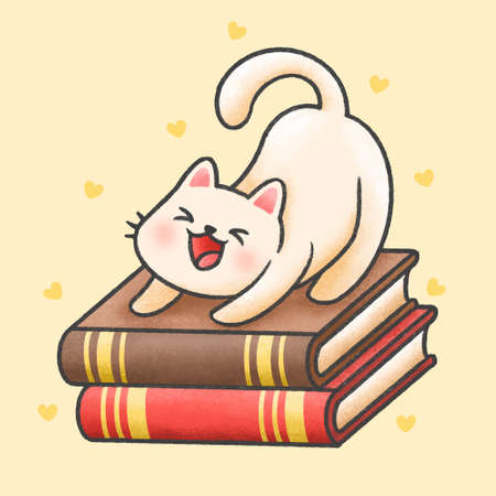 Cute cat sitting on a pile of books hand drawn cartoon animal character. Hand drawing vector. Cartoon character design Çizim