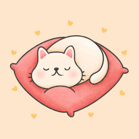 Cute cat sleeping on a pink pillow hand drawn cartoon animal character. Hand drawing vector. Cartoon character design