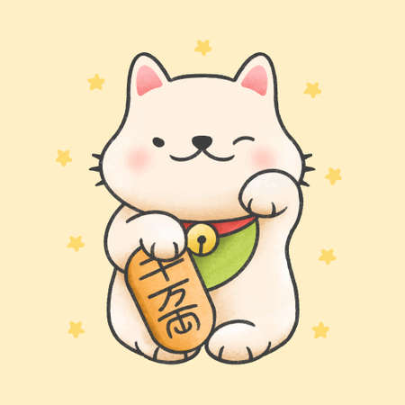 Cute maneki neko lucky cat hand drawn cartoon animal character. Hand drawing vector. Cartoon character design Иллюстрация